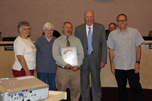 Pictured left to right:  Sharon Rolph, Darlene Moberg, Chicago Park School Principal Dan Zeisler, Supervisor Nate Beason, Chicago Park Postmaster Bo Salisbury