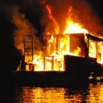 Houseboat Fire on Englebright Lake