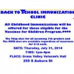 Back to School Immunization Clinic Thursday