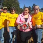 """Volunteers in yellow T-shirts are """"God's workers"""" this weekend"""