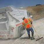 CalTrans Sweeper Blows Tire Slows Traffic