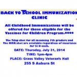 Back to School Immunization Clinic Thursday
