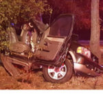 Driver entrapped after Crash Into Tree