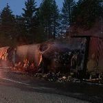 Truck Fire Spills Frozen Meat on Interstate 80